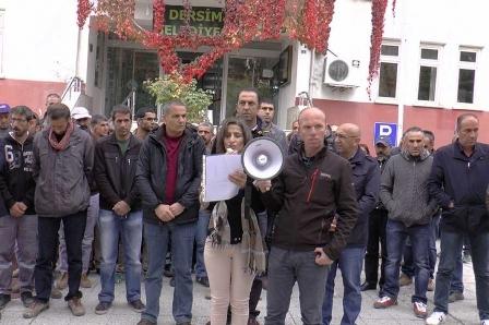 Dersimde belediye işçileri kayyumları protesto etti